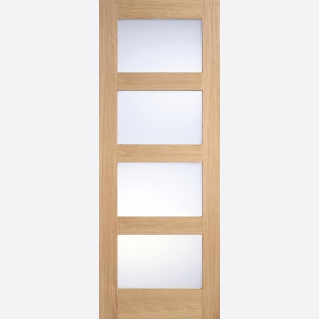 INTERNAL OAK SOLID GLAZED (Un-Finished) OAK CONTEMPORARY GLAZED 4L FROSTED PRE-FINISHED