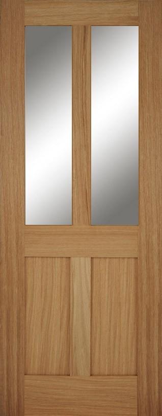 Oak Flat 4 Panel Bristol Glazed FD30 (Clear Glass)
