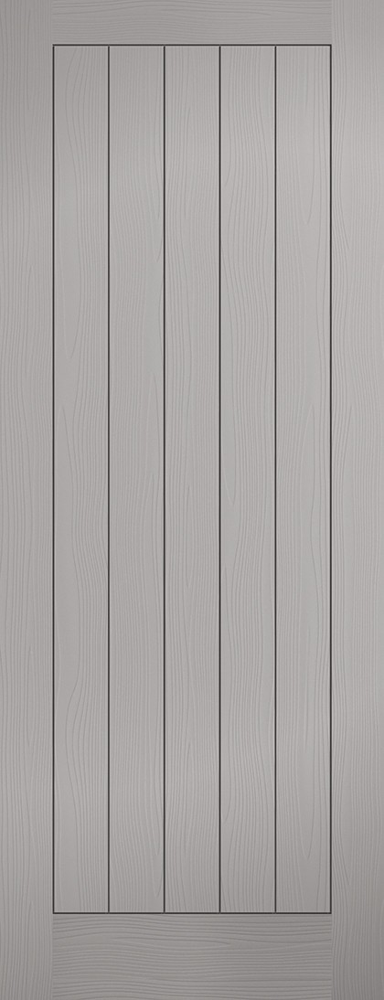 Grey TEXTURED VERTICAL 5 Panel Fire Door