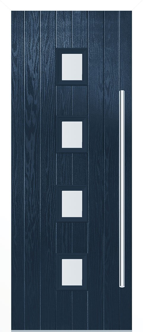Milton Blue Satin Double Glazed External Composite Door Sets