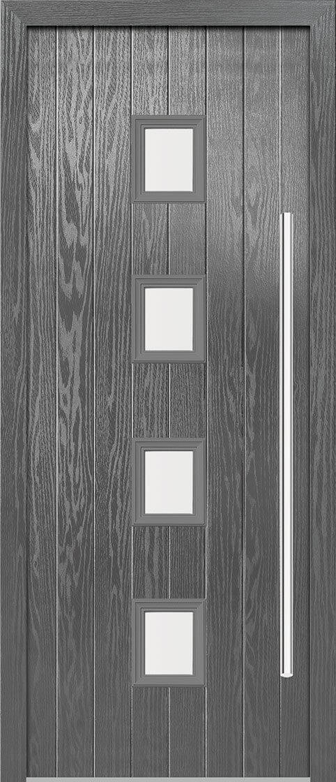 Milton Grey Satin Double Glazed External Composite Door Sets