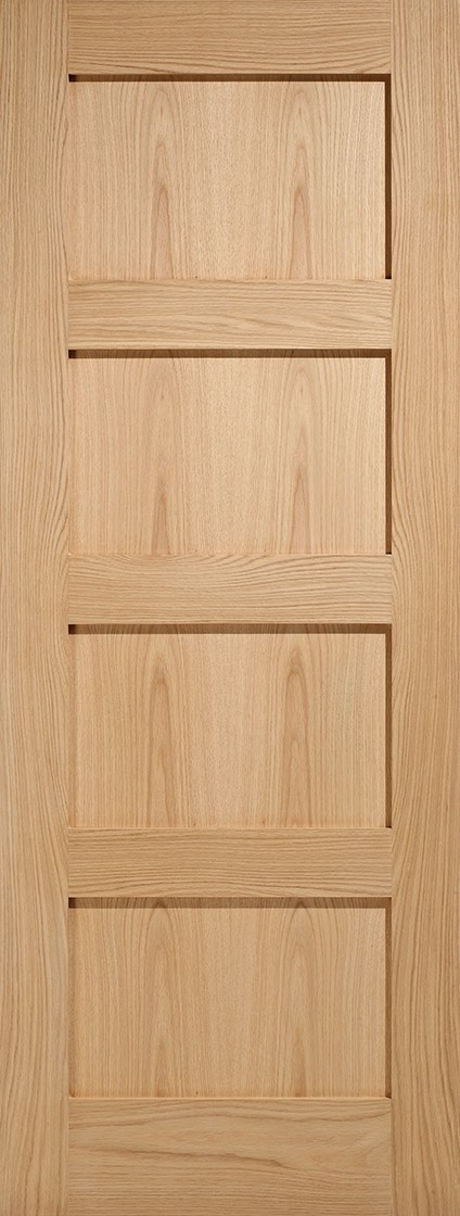 Pre-Finised Oak Contemporary 4 Panel Fire Door