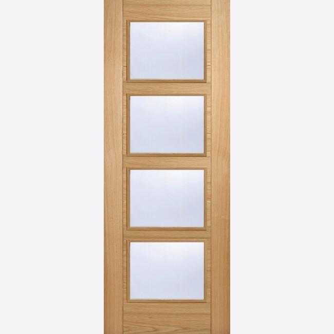 INTERNAL PRE FINISHED OAK FIRE DOORS (Glazed) OAK VANCOUVER GLAZED 4L