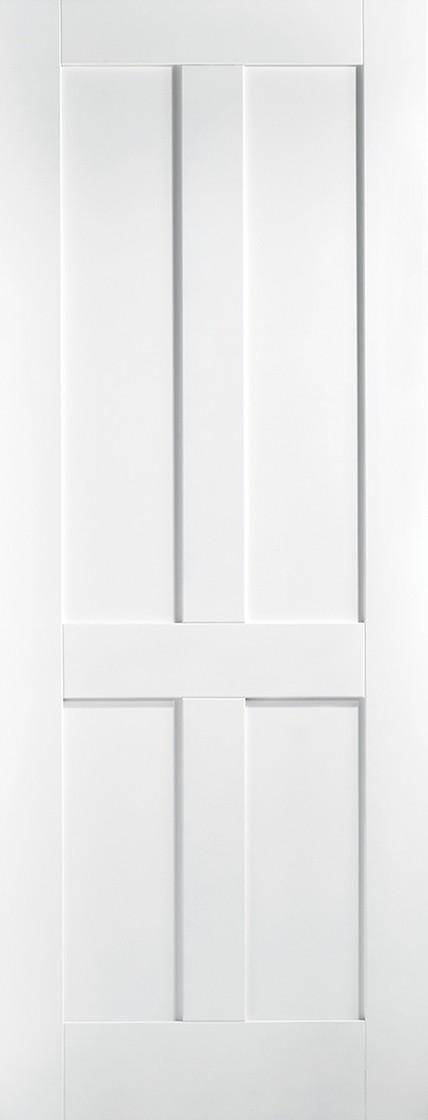 White Primed  London 4 Panels Fire Door