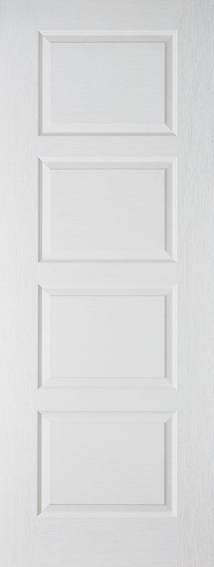 White TEXTURED CONTEMPORARY 4 Panel Fire Door