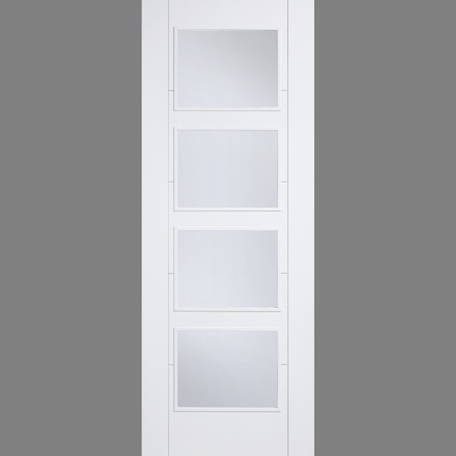 INTERNAL WHITE SOLID CORE FIRE DOORS WHITE VANCOUVER GLAZED 4L CLEAR